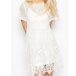 ASOS Smock Mesh Dress with Lace and Cutouts